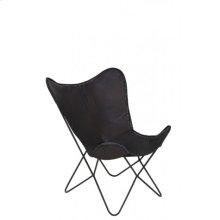 Chair 75x87x86 cm BUTTERFLY leather dark brown/black