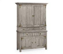 Linenfold Grey Oak TV Cabinet