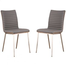 Café Brushed Stainless Steel Dining Chair in Gray Pu with Walnut Back (Set Of 2)