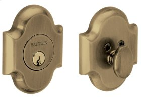 Satin Brass and Black Arched Deadbolt