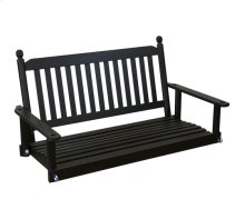 Slat Back Porch Swing in Black Matte