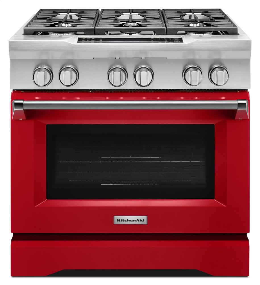 Kitchenaid 36u0027u0027 6 Burner Dual Fuel Freestanding Range, Commercial Style    Signature Red