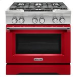 Kitchenaid36'' 6-Burner Dual Fuel Freestanding Range, Commercial-Style - Signature Red