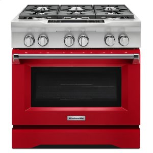 Kitchenaid36'' 6-Burner Dual Fuel Freestanding Range, Commercial-Style - Signature Red