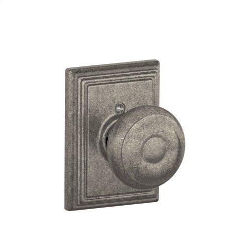 Georgian Knob with Addison trim Non-turning Lock - Distressed Nickel