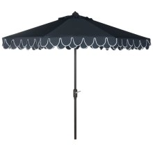 Elegant Valance 9ft Umbrella - Navy / White