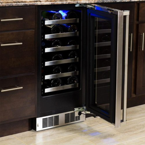"15"" High Efficiency Single Zone Wine Cellar - Stainless Frame, Glass Door With Lock - Integrated Left Hinge, Professional Handle"