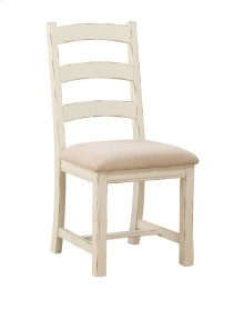 Ladderback Side Chair Linen Rta W/uph Seat