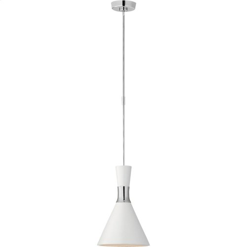 Visual Comfort S5640PN-WHT Studio VC Liam 1 Light 10 inch Polished Nickel Pendant Ceiling Light, Small Conical