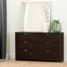 6-Drawer Double Dresser - Matte Brown