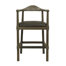 Curved Back Wooden Farmhouse Counter Stool