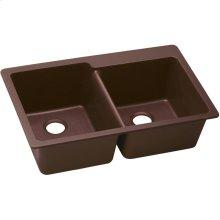 "Elkay Quartz Classic 33"" x 22"" x 9-1/2"", Offset Double Bowl Drop-in Sink, Pecan"