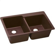 "Elkay Quartz Classic 33"" x 22"" x 9-1/2"", Offset Double Bowl Drop-in Sink, Pecan"