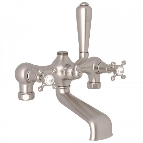 Satin Nickel Perrin & Rowe Georgian Era Exposed Tub/Shower Mixer Valve with Georgian Era Cross Handle