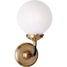 Visual Comfort S2024HAB/BLK-WG Ian K. Fowler Bistro 1 Light 6 inch Hand-Rubbed Antique Brass and Black Decorative Wall Light in White Glass