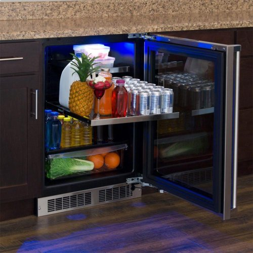 """24"""" Beverage Refrigerator with Drawer - Stainless Frame, Glass Door With Lock - Integrated Left Hinge, Professional Handle"""