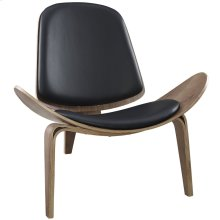 Arch Faux Leather Lounge Chair in Walnut Black