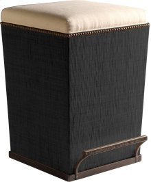 Ecru Fabric Purveyor Counter Stool in Black Finish