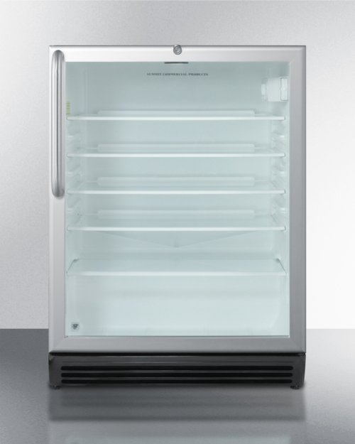 ADA Compliant Built-in Beverage Center for Commercial Use, With Stainless Steel Wrapped Cabinet, Glass Door, and Lock