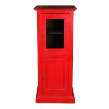 CC-CAB513TLD-RDRW  Cottage Glass Door Storage Cabinet  Distressed Red