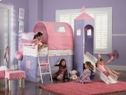 Princess Castle Twin Size Tent Bunk Bed with Slide Product Image