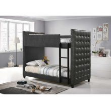 Helms Grey Upholstered Twin-over-twin Bunk Bed