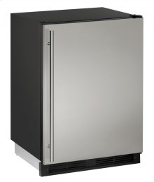 """1000 Series 24"""" Refrigerator/freezer With Stainless Solid Finish and Field Reversible Door Swing"""