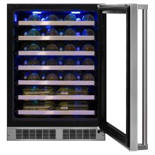 """24"""" High Efficiency Single Zone Wine Cellar Hinge Pin - Stainless Steel Framed-Glass Door with Lock, Right Hinge"""