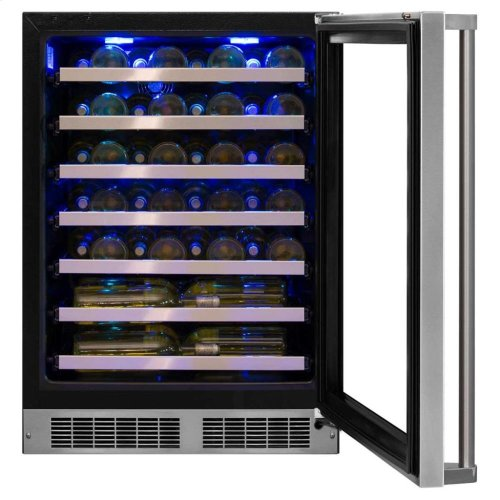 "24"" High Efficiency Single Zone Wine Cellar Hinge Pin - Stainless Steel Framed-Glass Door with Lock, Left Hinge"