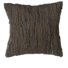 Brown & Black Leather Chindi Pillow (Each One Will Vary). Product Image