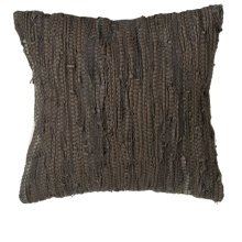 Brown & Black Leather Chindi Pillow (Each One Will Vary).