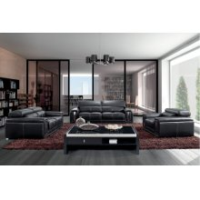 Divani Casa 2992 Modern Black Leather Sofa Set with Headrests