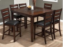 Baroque Brown Slat Back Stool With Upholstered Seat
