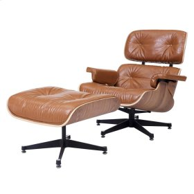 Grayson PU Lounge Chair and Ottoman Walnut Veneer Frame, Distressed Caramel