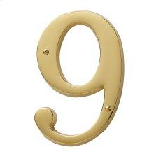 Lifetime Polished Brass House Number - 9