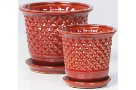 Red Fossette Petits Pots with Attached Saucers - Set of 2