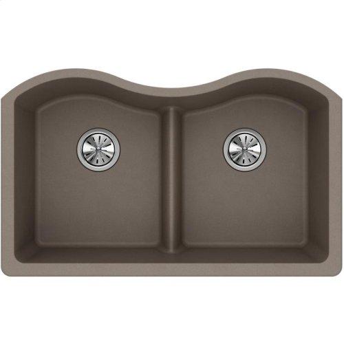 "Elkay Quartz Classic 33"" x 20"" x 9-1/2"", Equal Double Bowl Undermount Sink with Aqua Divide, Greige"