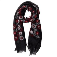 Black with Red & White Floral Embroidered Scarf.