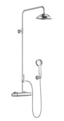 Shower thermostat for wall-mounted installation with rainhead and hand shower set - chrome