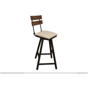 "30"" Swivel Barstool w/ Fabric Seat & Iron Base"