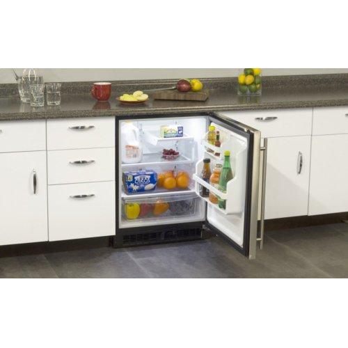 """Marvel 24"""" ADA Height All Refrigerator with Door Storage - Black Door with Lock - Right Hinge"""