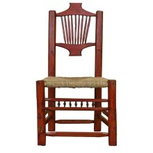 Red Resplandor Chair W/Wicker Seat