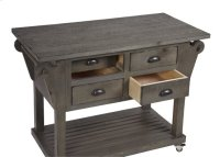 Kitchen Island w/ Drawers - Distressed Dark Gray Finish Product Image