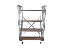 Book Case-galvonized Metal Finish-weathered Wood Finish Shelves-rta