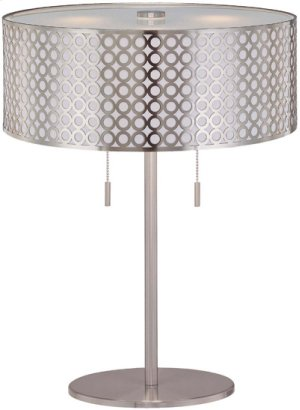 Table Lamp, Ps/metal Cut-out Shd W/liner, E27 Cfl 13wx2