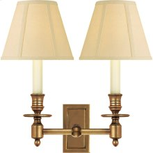 Visual Comfort S2212HAB-T Studio French 2 Light 12 inch Hand-Rubbed Antique Brass Decorative Wall Light in Tissue Silk