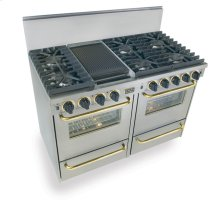 "48"" All Gas, Convection, Sealed Burners, Stainless Steel with Brass Trim"