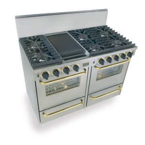 "Five Star48"" All Gas, Convection, Sealed Burners, Stainless Steel with Brass Trim"