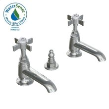 Savina Pillar Taps Lavatory Faucet Cross Handles - Polished Chrome