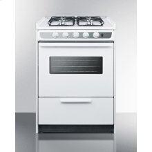 """Slide-in Gas Range In Slim 24"""" Width, With White Porcelain Construction, Four Sealed Burners, and Oven Window With Light"""